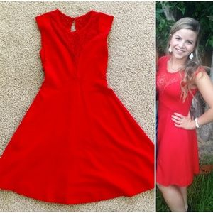 French Connection Red Skater Dress w/ lace